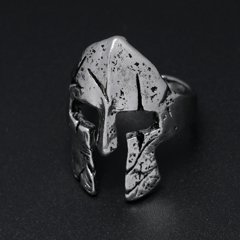 YANGQI Spartan Hero Helmet Mask Ring for Men Vintage Punk Biker Jewelry Male Cool Antique Silver Gold Color Finger Rings