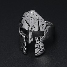 YANGQI Spartan Hero Helmet Mask Ring for Men Vintage Punk Biker Jewelry Male Cool Antique Silver Gold Color Finger Rings(China)