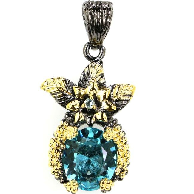 Sublime Antique Vintage Rich Blue Aquamarine Black Gold 925 Silver Pendant 35x18mm