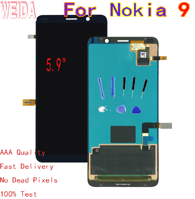 """WEIDA 5.9"""" For Nokia 9 LCD Display Touch Screen Digitizer Assembly with Tool TA-1004 TA-1005"""