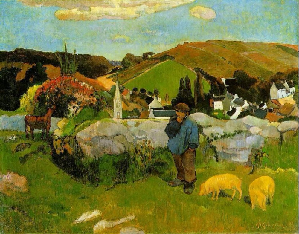 High quality Oil painting Canvas Reproductions Swineherd, Brittany (1888) by Paul Gauguin hand paintedHigh quality Oil painting Canvas Reproductions Swineherd, Brittany (1888) by Paul Gauguin hand painted