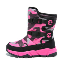 QIUTEXIONG Snow Boots For Children Outdoor Warm Kids Shoes Platform Fashion  Waterproof Girls Boots Round Toe Mid-Calf Winter