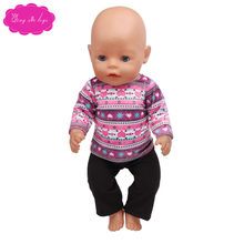 Doll sweater purple sweater and black pants fit for 43cm boy and girl dolls Birthday gift for children f362(China)