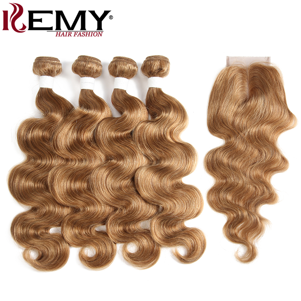 KEMY HAIR Pre Colored Human Hair 4 Bundles With 4 4 Lace Closure Light Brown Non