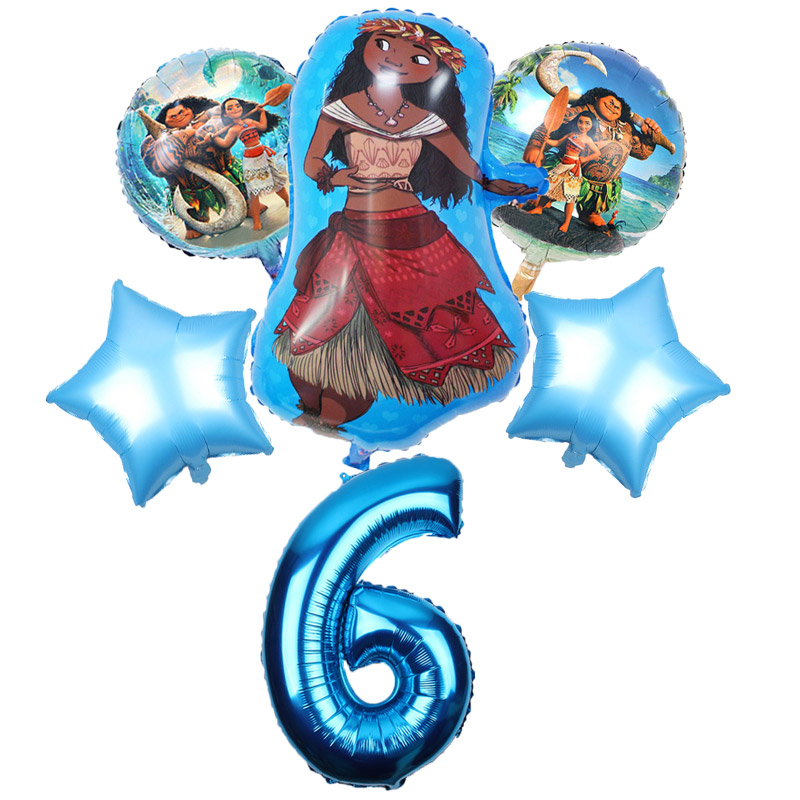 Image 5 - 5 pcs/lot Moana balloons 32 inch Number moana party supplies moana theme birthday party decoration kids toys globo girls gifts-in Ballons & Accessories from Home & Garden
