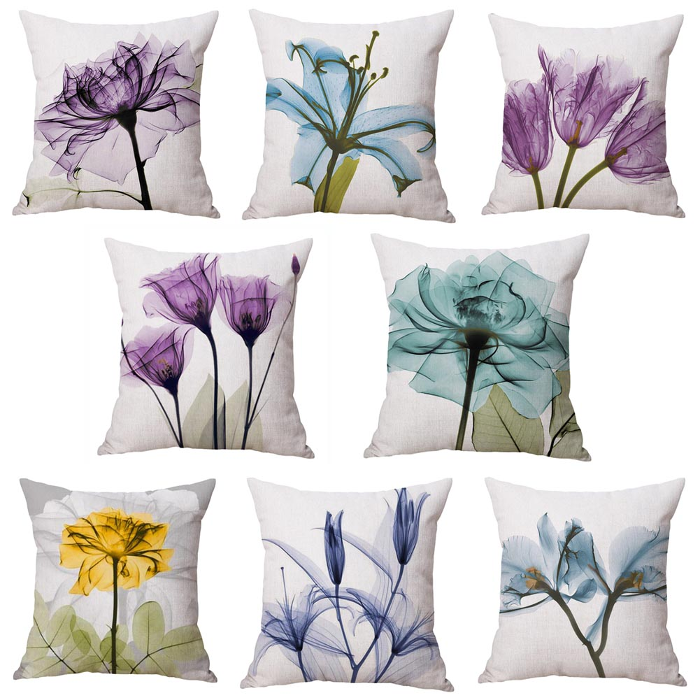1PC! 3D Stereo Watercolor Flower Beige Cushion Cover 8 Style Purple Blue Yellow Pink Pillow Case 45X45cm Bedroom Sofa Decoration