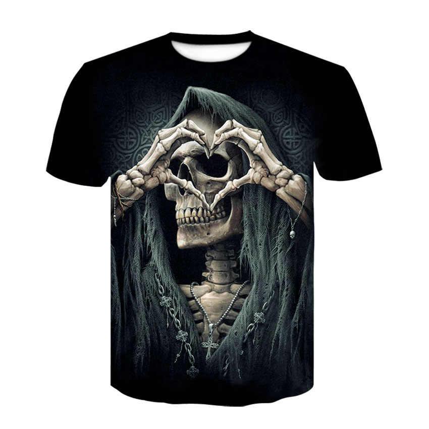 2019 الصيف جديد 3d الجمجمة T قميص الرجال قصيرة الأكمام قميص مضحك القمصان روك اليابان فاسق أنيمي القوطية روك 3dT-shirt ملابس رجالي