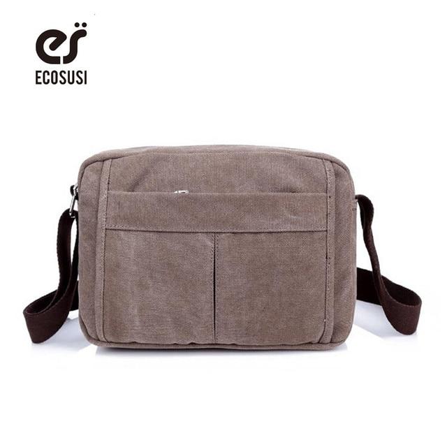 a160d617f7c6 ECOSUSI Canvas Mans Bag High Quality Men Messenger Bags Casual Shoulder  Canvas Bag Vintage Crossbody Men S