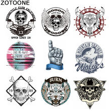 ZOTOONE Punk Skull Wing Patches for Clothing DIY Animal Heat Transfer Sticker Jeans Press Appliqued Decoration Iron on Patch E(China)