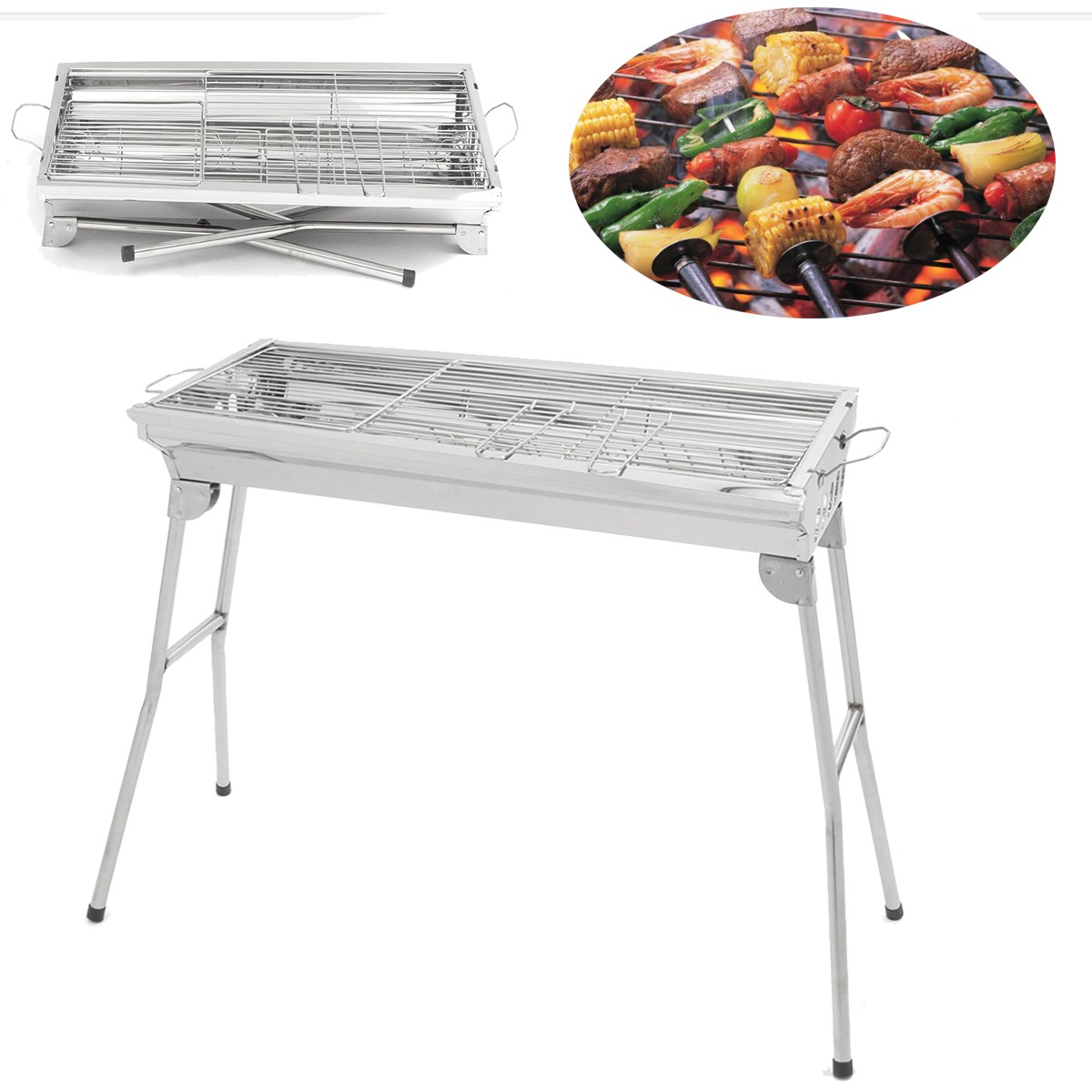 folding stainless steel charcoal bbq grill barbecue. Black Bedroom Furniture Sets. Home Design Ideas
