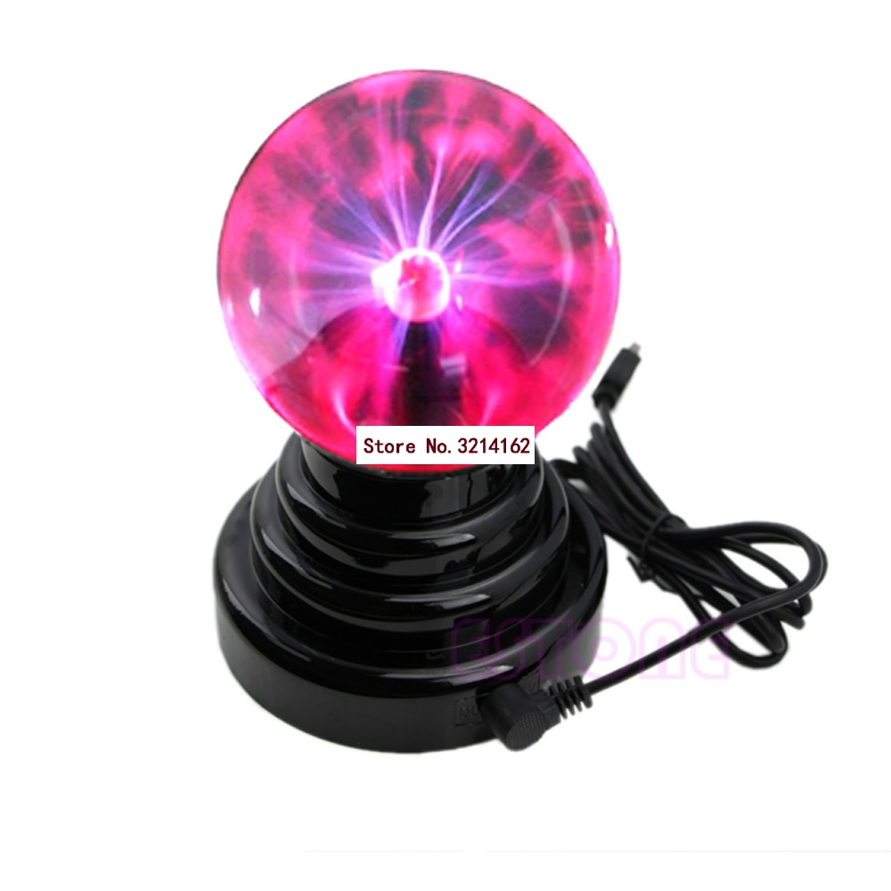 New USB Magic Black Base Glass Plasma Ball Sphere Lightning Party Lamp Light 07NOV