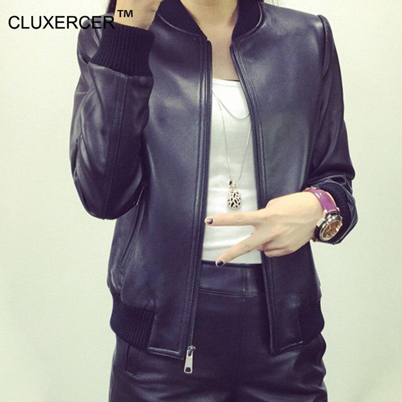 CLUXERCER Brand Bomber   Leather   Jacket Women PU   Leather   Jacket Black Coat Biker Motorcycle Baseball   Leather   jackets Plus Size 4XL