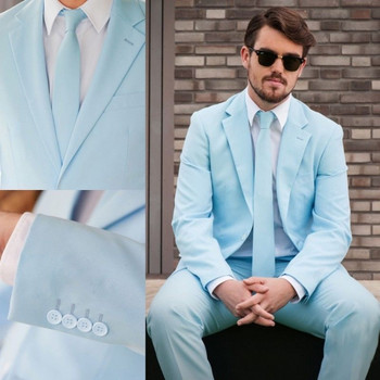 2019 Light Blue 2 Pieces Slim Fit Best Man Tuxedo Formal Groomsman Wedding Prom Suit