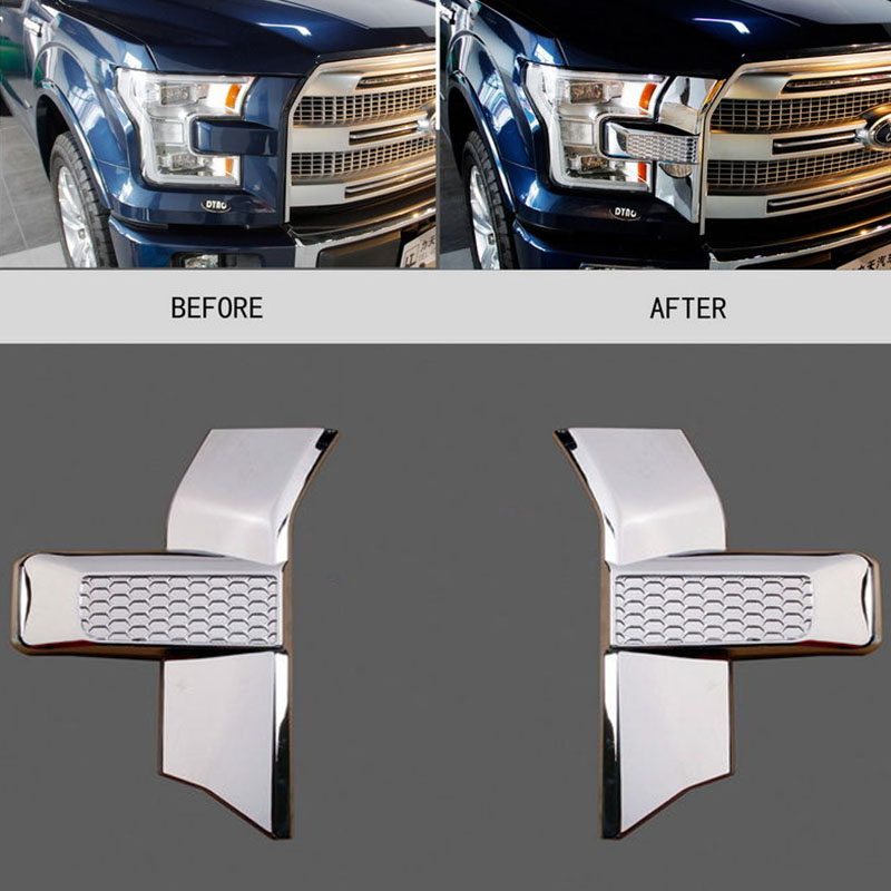 Здесь продается  1 Pair Chrome Styling Car Front Bumper Headlight Grille Cover Trim Decorate for Ford F150 2015-2017 High Quality ABS Plastic  Автомобили и Мотоциклы