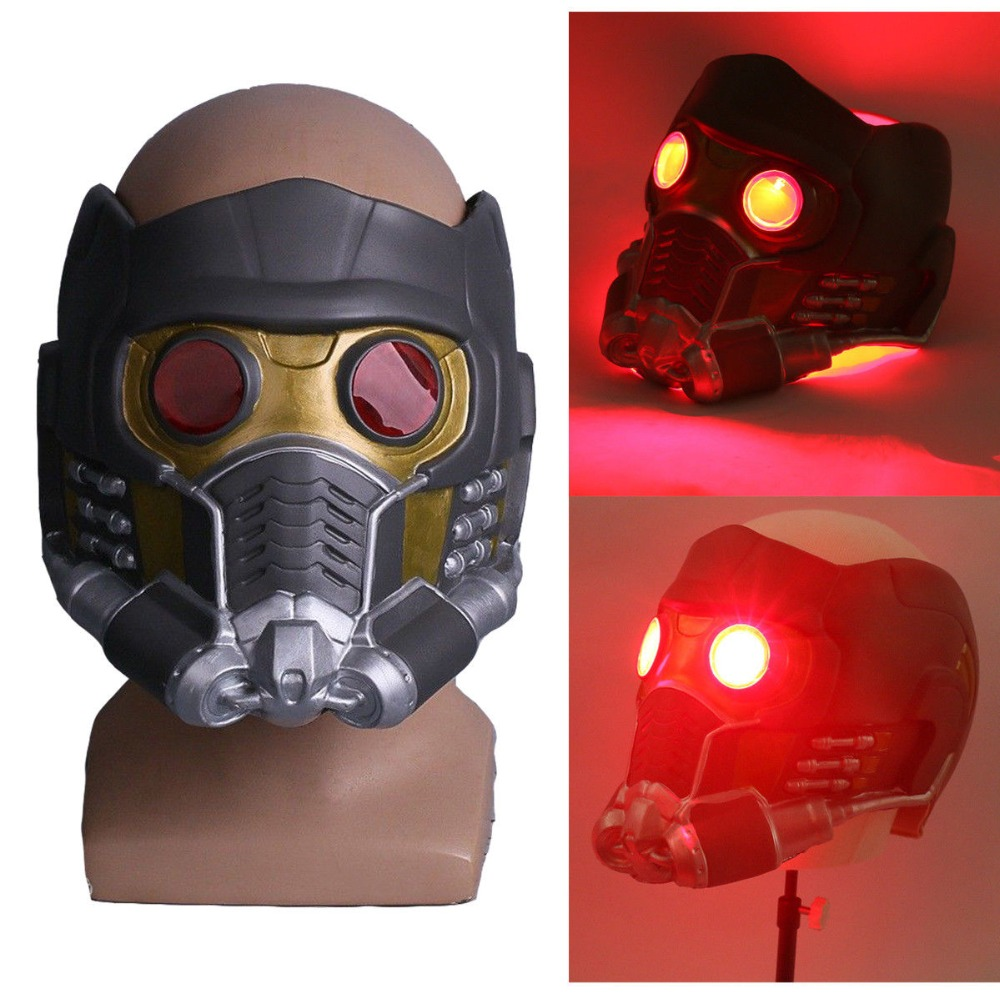 Косплэй Звездный лорд светодиодный шлем латекс Мстители Бесконечная война перо светодиодный маски супергероя реквизит Хэллоуин Вечерние