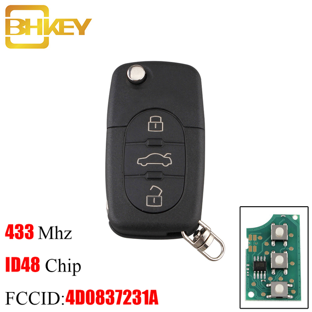 BHKEY 3B Remote key For AUDI 433Mhz ID48 Chip For Audi A3 A4 A6 A8 Old Models 4D0 837 231 A 4D0837231A Original remote control