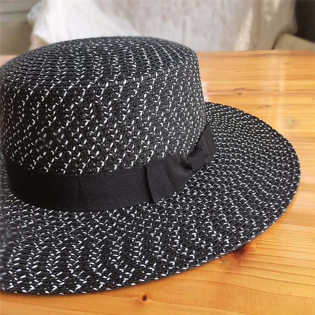 Women Summer Beach Sun Hats 2018 Brand Black And White New Flat Top Straw  Hat Jazz da746aeb139c