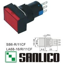 Interruptor de botão de pressão de cabeça retangular xb6eda41p xb6eda31p la68 las1 lay16 sb6r/11cf retorno momentâneo da mola 16mm