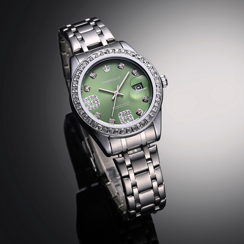 2017 High Quality Fashion Luxury Womens Watch Green Japan Movt Crystal Female Wrist Clock Water Resistant With Original Box