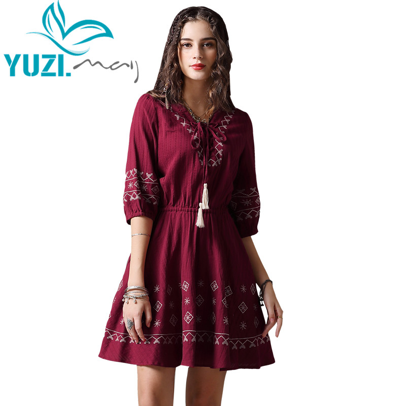 Summder Dress 2018 Yuzi may Boho New Cotton Vestidos V Neck Half Sleeve Vintage Embroidery A