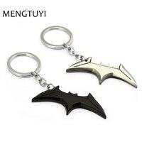 J Store 12pcs/lot Superhero Batman Key chain black silver Bats dart Keychain bats shape metal Car Key Chain men fans souvenir
