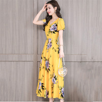 Summer Dress Women Yellow S 3XL Chiffon Print Ankle length Dresses 2019 Short Sleeve Korean Elegant Slim Beach Long Dress LD945