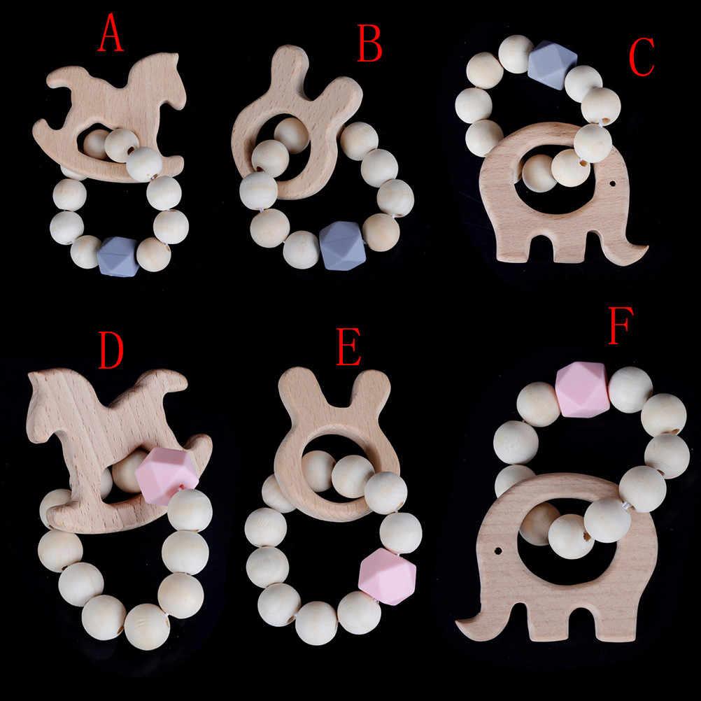 1 шт. детский Прорезыватель кольцо из натурального дерева силиконовые бусины ручные плетеные браслеты Органические Детские нейтральные Подарочные игрушки