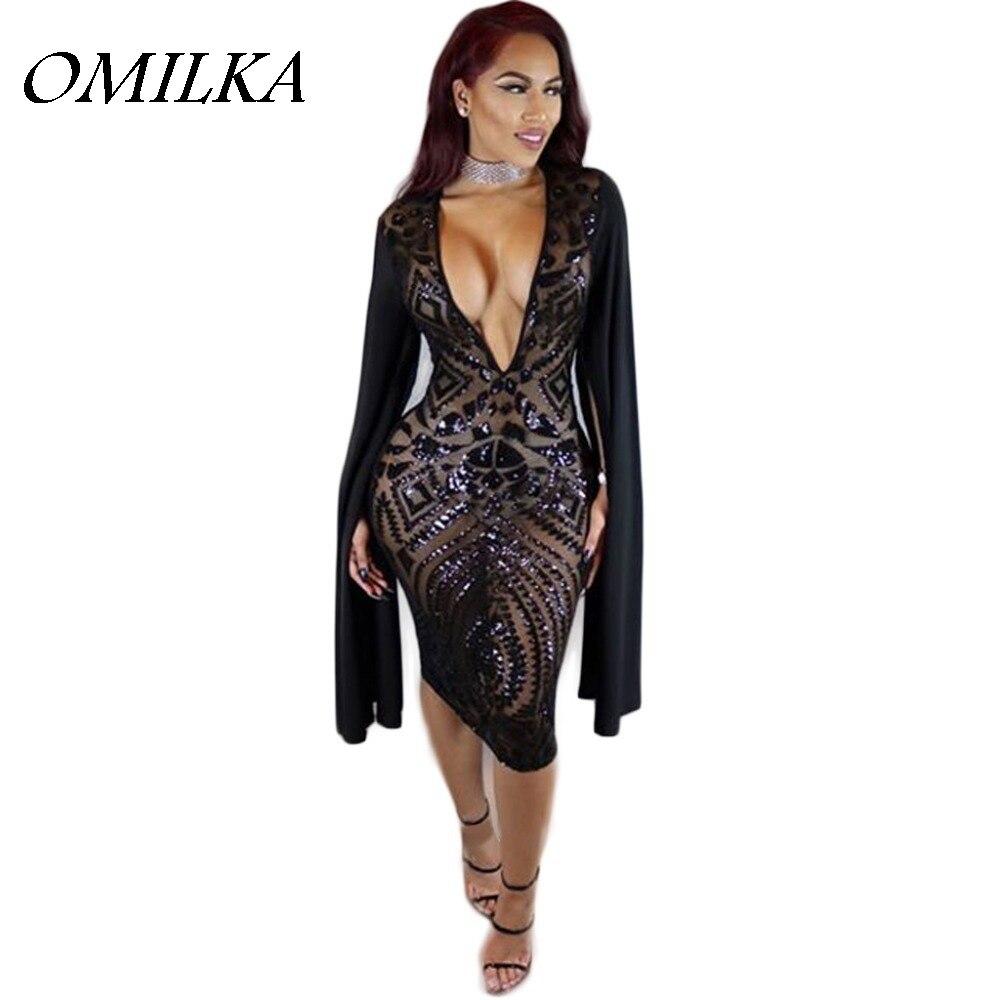 Buy Cheap OMILKA Sexy Club Dress 2017 Women Long Sleeve Cloak Cape Bodycon Sequin Dress Sexy Black Deep V Neck Party Club Sequined Dress
