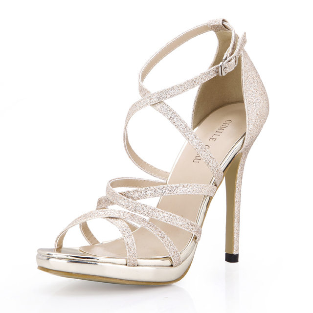 CHMILE CHAU Glitter Sexy Wedding Party Women Shoes Stiletto Heel Gladiator Rome Buckle Ankle Strap Bridal Sandals 0640A-4c 6