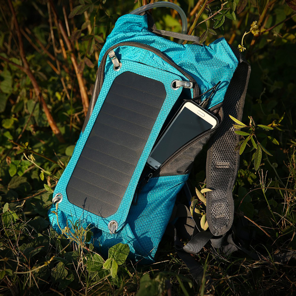 Outdoor Camping 6.5W Solar Panel Backpack Hiking Back Pack 15L Bag Waterproof With Water Bag & USB Output Charger Backpack Bag