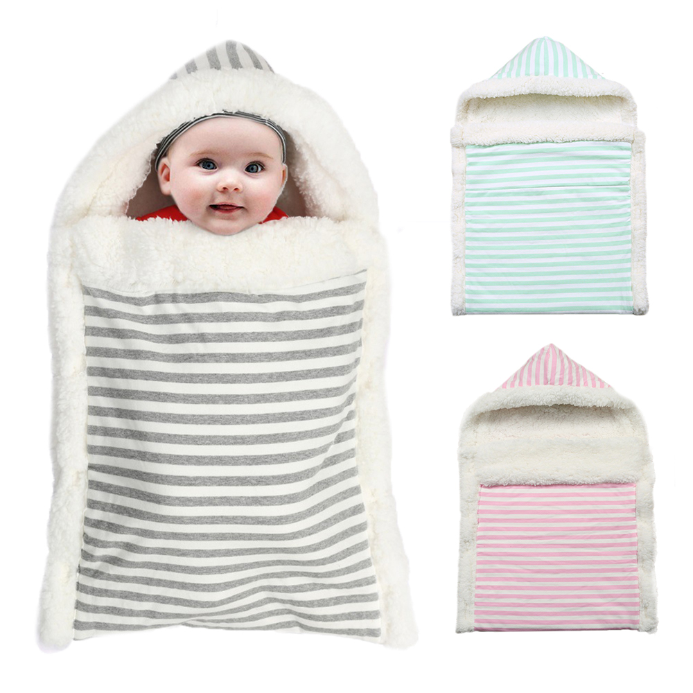 Baby Sleeping Bag Envelope Winter Kids Sleepsack Footmuff For Stroller Knitted Sleep Sack Newborn Swaddle Knit Wool Sleeping Bag