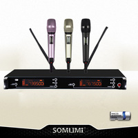 New High Quality UHF Professional Dual Wireless Microphone System stage performances a two wireless microphone