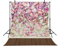 Colorful Flower Backgrounds High Grade Vinyl Cloth Computer Printed Wooden Backdrop