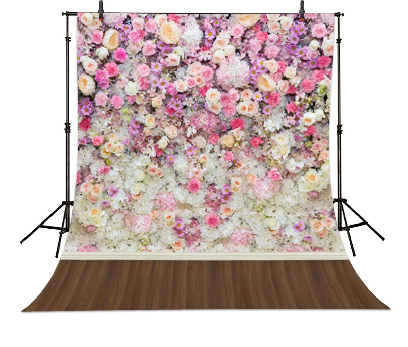 5x7ft Colorful pink and white floral Flower wall Backgrounds Vinyl cloth Computer printed wedding Wooden wood backdrop paper sun white cloud colour colorful photography backgrounds vinyl cloth computer printed birthday photo backdrop