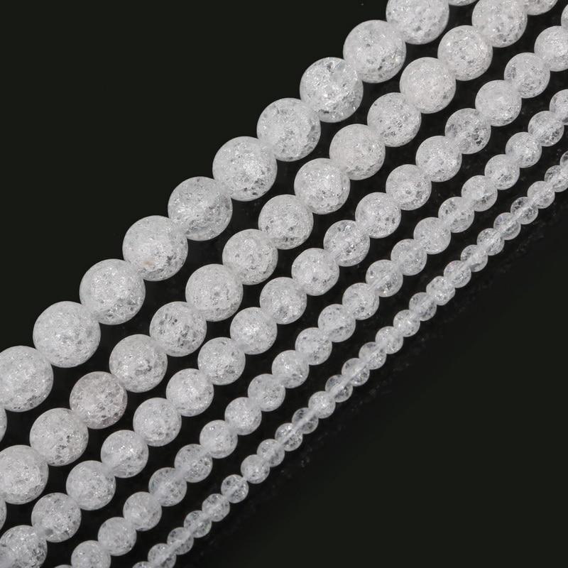 Natural Stone Beads White Snow Cracked Quartz Crystal Bead ... Quartz Crystal Beads