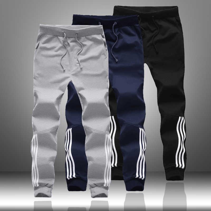Весенне-осенние мужские повседневные спортивные штаны 2019 мужские спортивные джоггеры полосатые штаны модные мужские обтягивающие тонкие облегающие спортивные штаны-шаровары