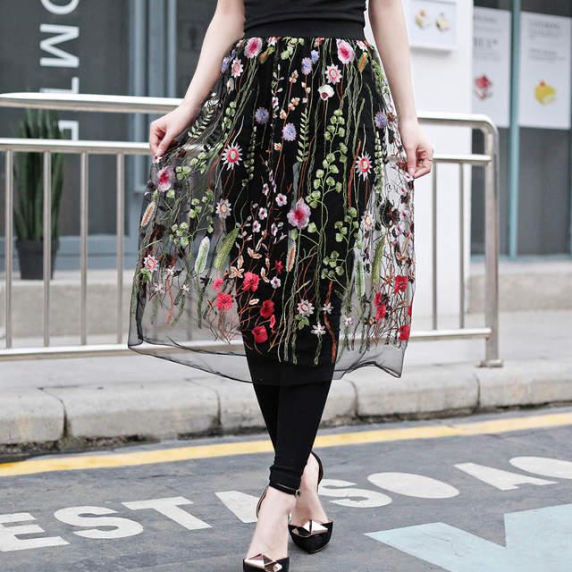 8abbb8e02 Flectit mujeres Vintage negro largo Faldas Mujer Casual ver A través Floral  bordado falda elegante Midi una línea falda Saia