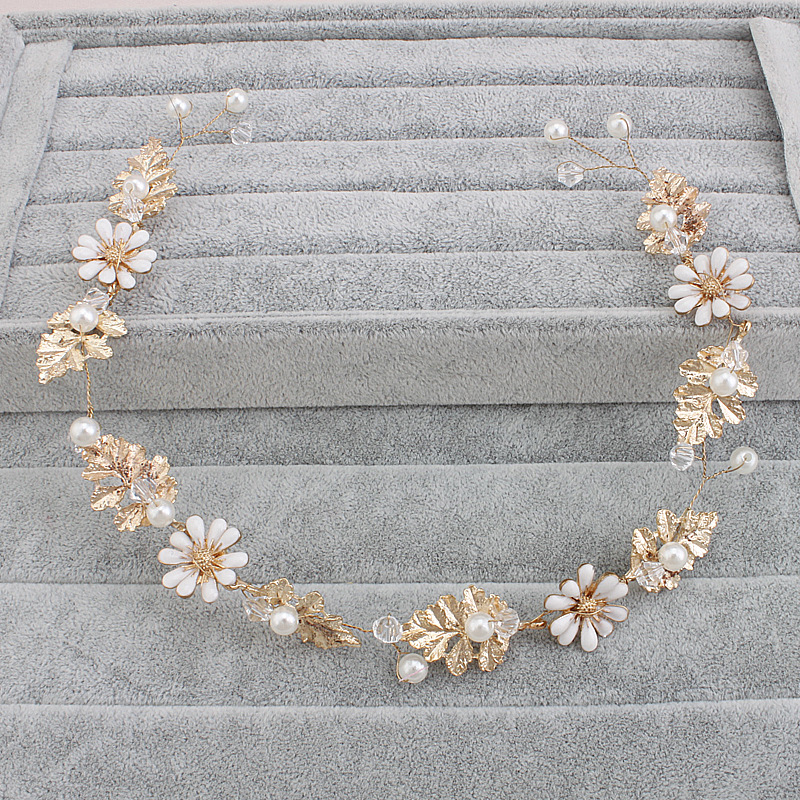 Newly Pearl Beads Shiny Crystal Pearl hair band Wedding Accessories Head Piece Bride Headwear Headband  Vintage Hair bands HX050 1 pcs lot women crystal beads hairband awaytr new black side flower hair band headband for girls 2017 korean style headwear