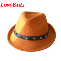 Winter Wool Felt Fedora Hats For Men Chapeu Masculino Panama Orange Patchwork Jazz Free Shipping PWFR067