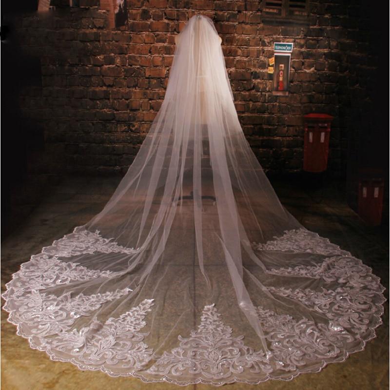 2017 velos de novia cathedral bridal veils with dezzling crystal lace edge wedding veil longo wedding accessories voile mariage