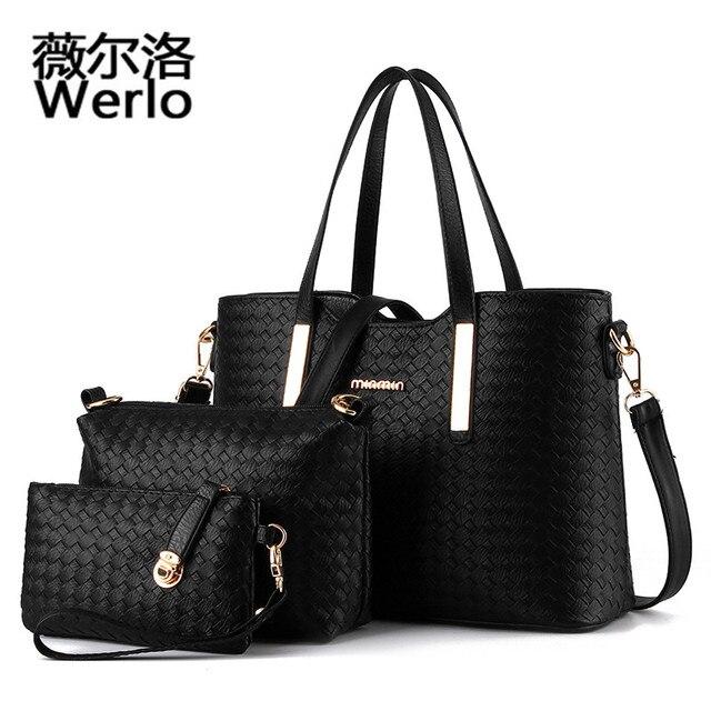1417b0b2b6de WERLO Brand Design 3pcs Set Women Bags Luxury Knitting Leather Handbags  Casual Totes Female Shoulder HandBags bolsos mujer SJ057