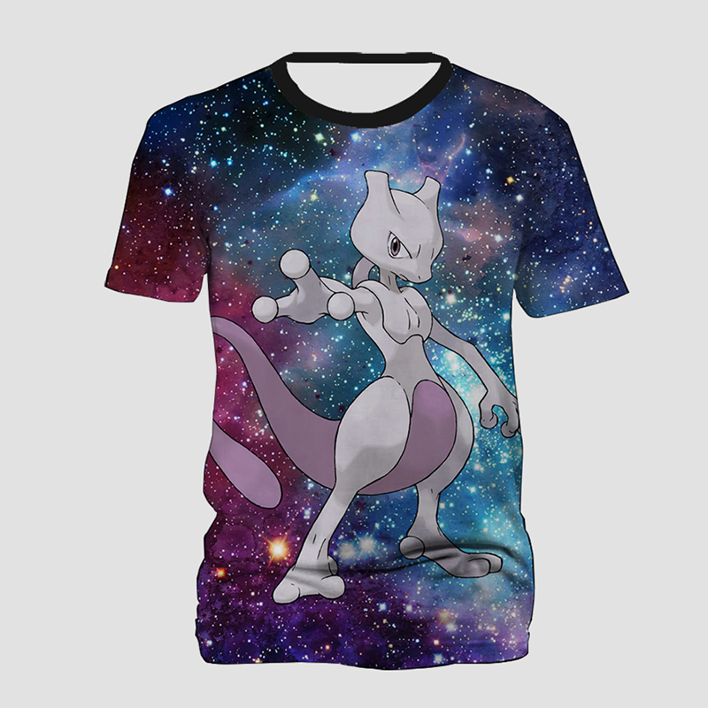 Galaxy Pokemon Mewtwo 3D Print T Shirt Men Women Hip Hop T-shirt Short Sleeve Tee Tops Streetwear Tee Shirts Plus Size image