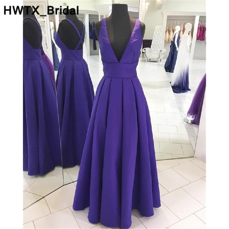US $69.66 46% OFF|Charming V neck Purple Satin Bridesmaid Dresses Formal  Long Floor Length Wedding Guest Dress Plus Size Vestidos dama de honor-in  ...