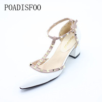 2016 New Women S Shoes Rivets T Belt Buckle Hollow Pointed High Heeled Patent Leather High