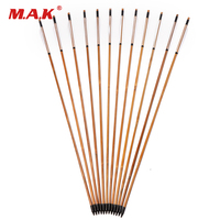 6 12 24pcs Spine 500 Bamboo Arrows 31 Length With White Turkey Feathers For Hunting Shooting