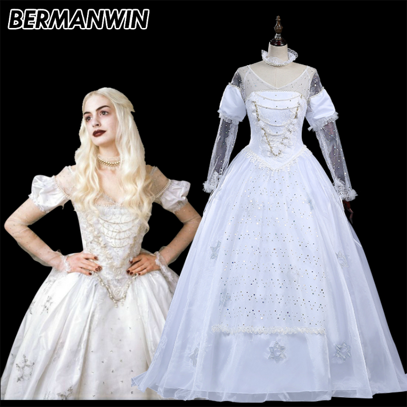 BERMANWIN High Quality Alice in Wonderland Cosplay Costume The White Queen Costume Dress adult women Halloween Cosplay Costume