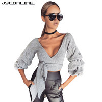 JYConline Lantern Sleeve Women Shirts Deep V Neck Blouse Shirts Women Crop Top Bandage Knitted Sexy
