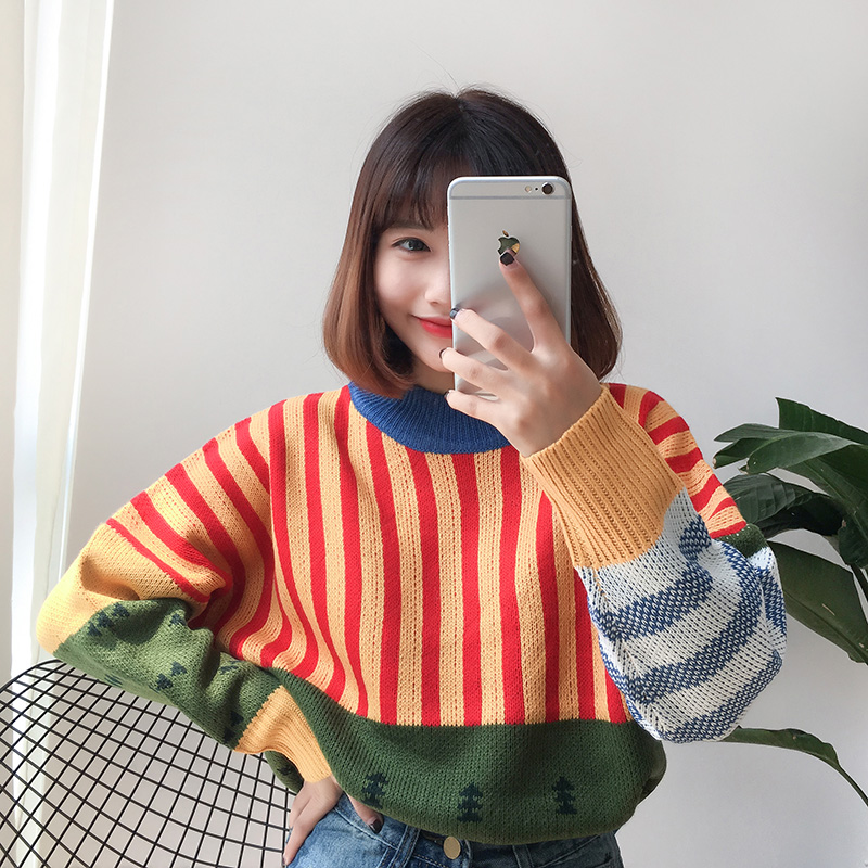 Image 3 - Womens Sweaters Kawaii Ulzzang Loose Wild Color Stitching Knitted Sweater Female Korean Harajuku Jumper Pullover For WomenPullovers   -