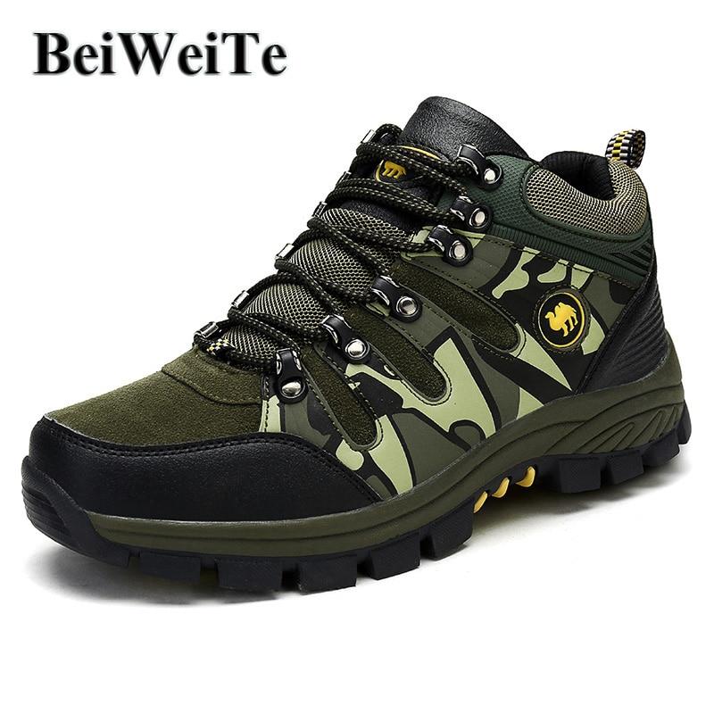Hommes de Camouflage chaussures de randonnée Plus Chaude Fourrure baskets d'extérieur Pour Hommes Chameau Style Printemps Tourisme Trekking Chasse Escalade Chaussures