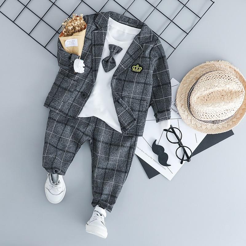 HYLKIDHUOSE ערכות בגדי תינוק זכר ילדי ילד חליפות אדון סגנון מעילי T חולצה מכנסיים רשת תינוקות בגדים